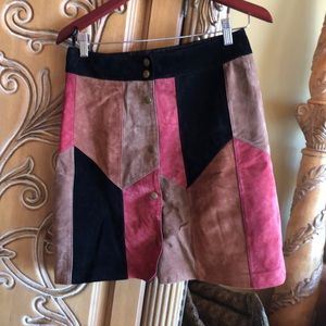 INC suede patchwork skirt